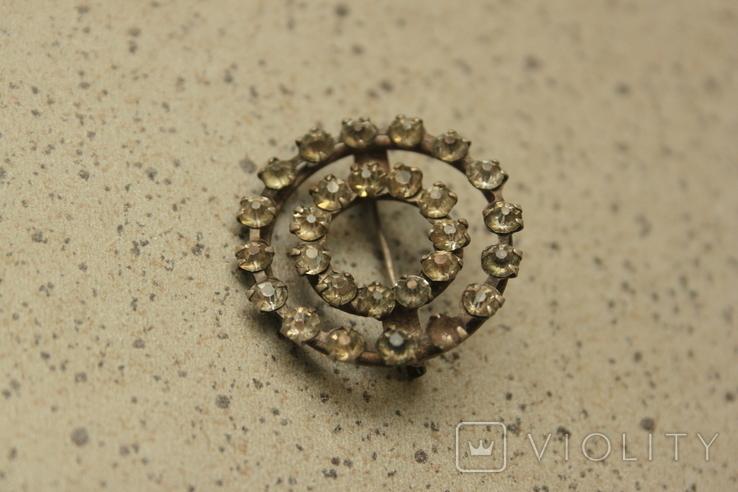 Брошь  круглая с камнями СССР, фото №2