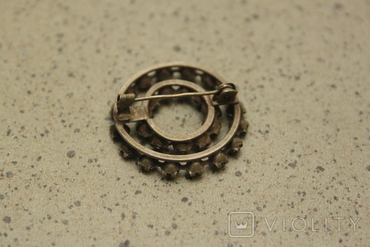 Брошь  круглая с камнями СССР, фото №3