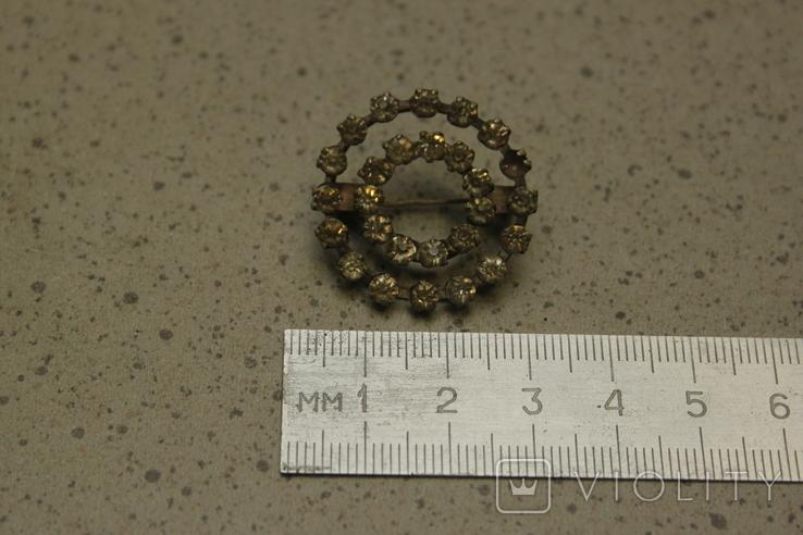 Брошь  круглая с камнями СССР, фото №5