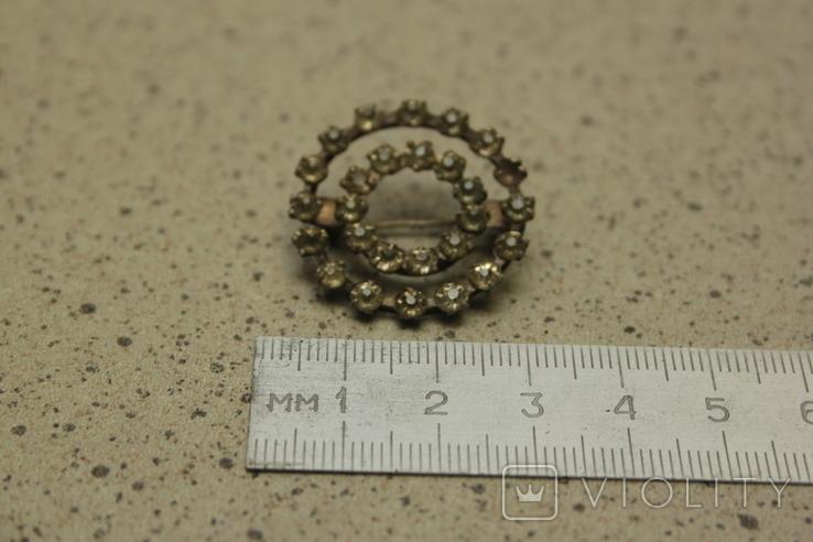 Брошь  круглая с камнями СССР, фото №6