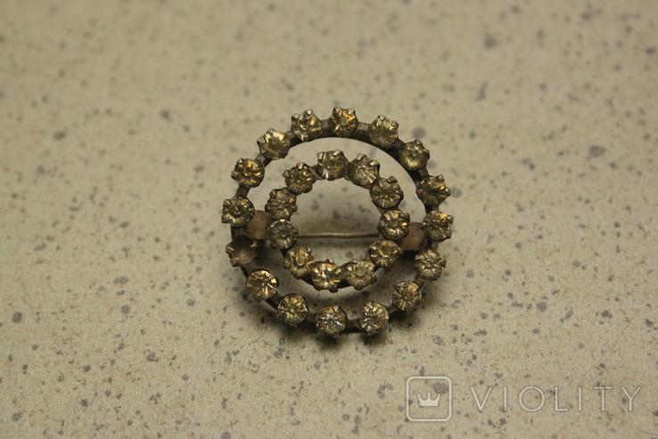 Брошь  круглая с камнями СССР, фото №8