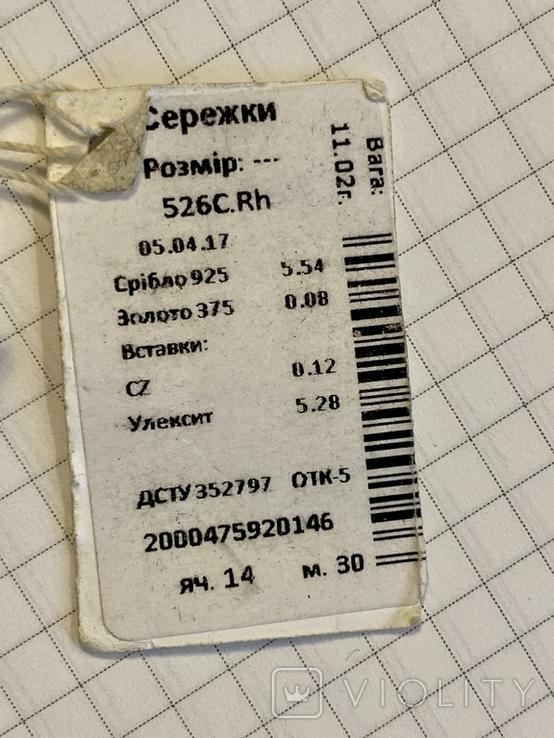 Серьги серебро/золото новые., фото №5
