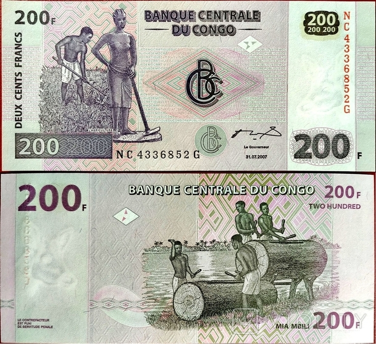 Конго Congo DR - 200 франк franc - 2013