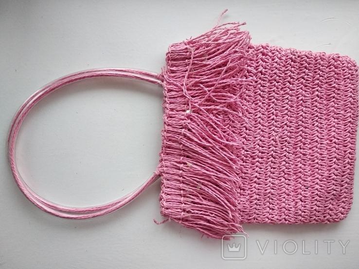 Сумка винтажная макраме, блестки (импорт), фото №2