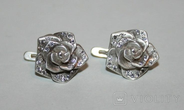"""Серебрянные серьги """"Розы"""" с камнями (Украина.,925 проба.,ХЯВ3) 6,6 грамма, фото №2"""