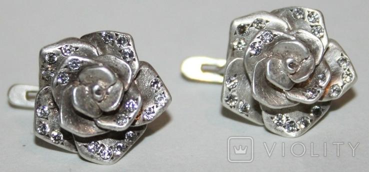 """Серебрянные серьги """"Розы"""" с камнями (Украина.,925 проба.,ХЯВ3) 6,6 грамма, фото №3"""