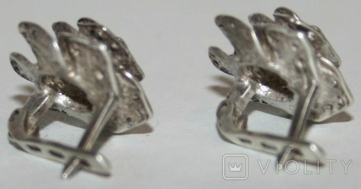"""Серебрянные серьги """"Розы"""" с камнями (Украина.,925 проба.,ХЯВ3) 6,6 грамма, фото №6"""