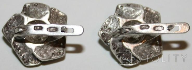 """Серебрянные серьги """"Розы"""" с камнями (Украина.,925 проба.,ХЯВ3) 6,6 грамма, фото №7"""