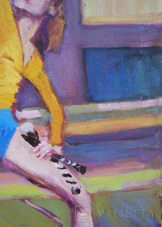 """В.Кнышевский """"Гимнастка"""", х.м.53*38см, 1980г, фото №4"""