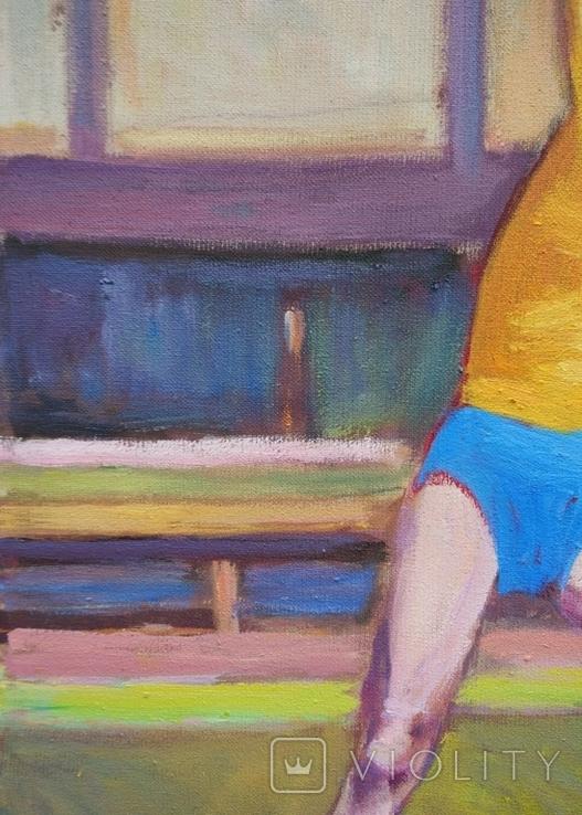 """В.Кнышевский """"Гимнастка"""", х.м.53*38см, 1980г, фото №5"""