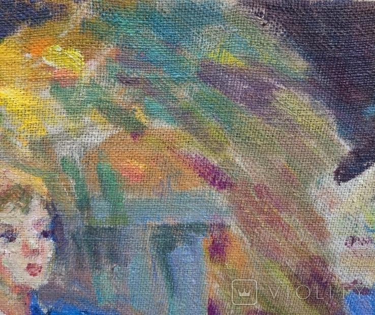 """В.Кнышевский """"Свидание"""", х.м.40*40см, 1980г, фото №6"""