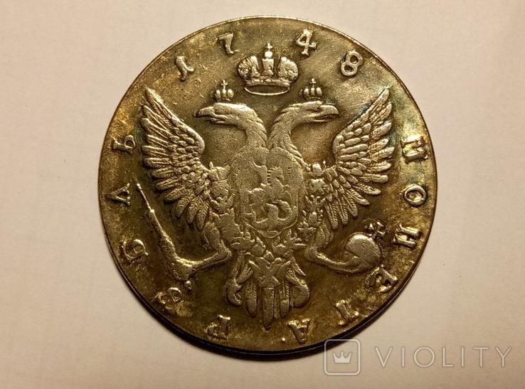 Копия 1 рубль 1748 год В4, фото №3