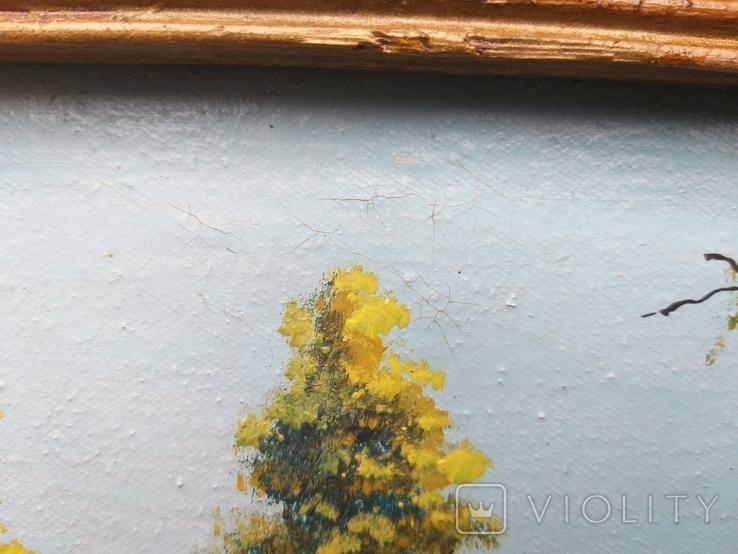Старая картина масло холст, фото №5