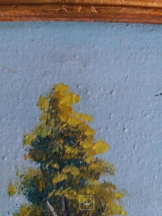 Старая картина масло холст, фото №12