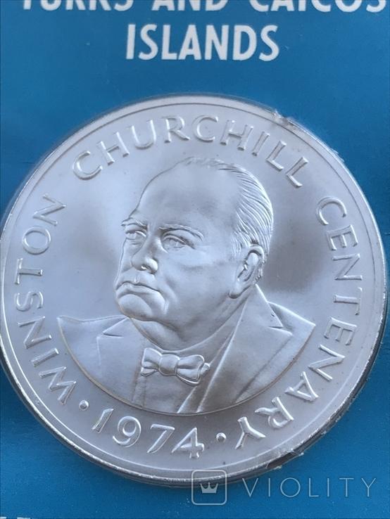 Тёркс и Кайкос 20 крон, 1974 100 лет со дня рождения Уинстона Черчилля, фото №2