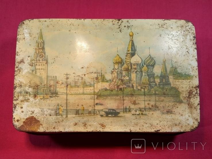 Жестяная банка.Из под конфет(наверное)Винтаж СССР., фото №2