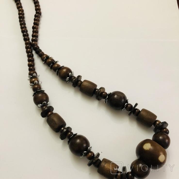 Ожерелье бусы намисто дерево и кость, фото №3