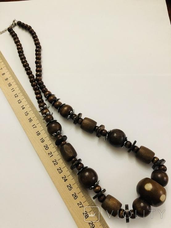 Ожерелье бусы намисто дерево и кость, фото №4