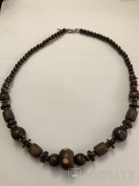 Ожерелье бусы намисто дерево и кость, фото №9