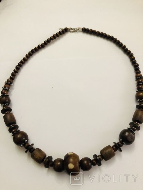 Ожерелье бусы намисто дерево и кость, фото №10