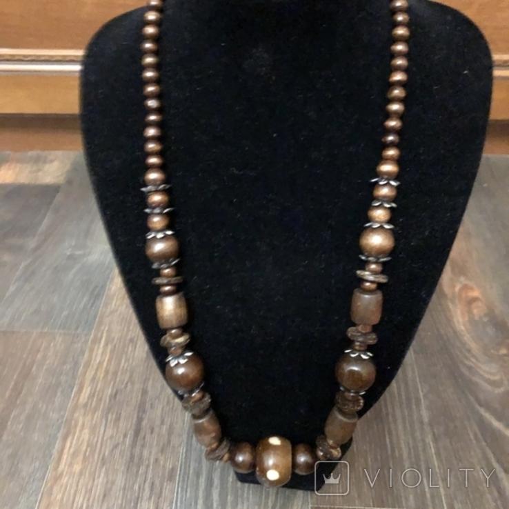 Ожерелье бусы намисто дерево и кость, фото №2
