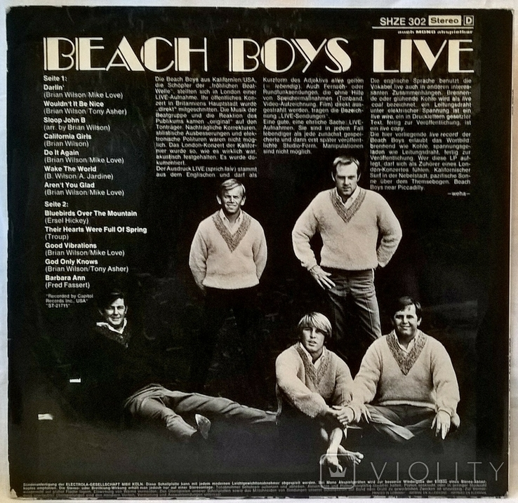 Beach Boys (Live) 1969. (LP). 12. Vinyl. Пластинка. Germany., фото №3