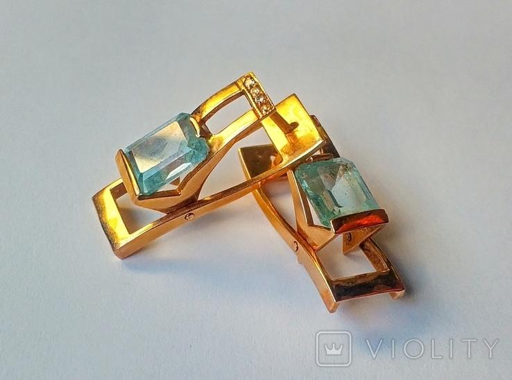 Золотой набор с натуральными топазами. Ручная работа., фото №7