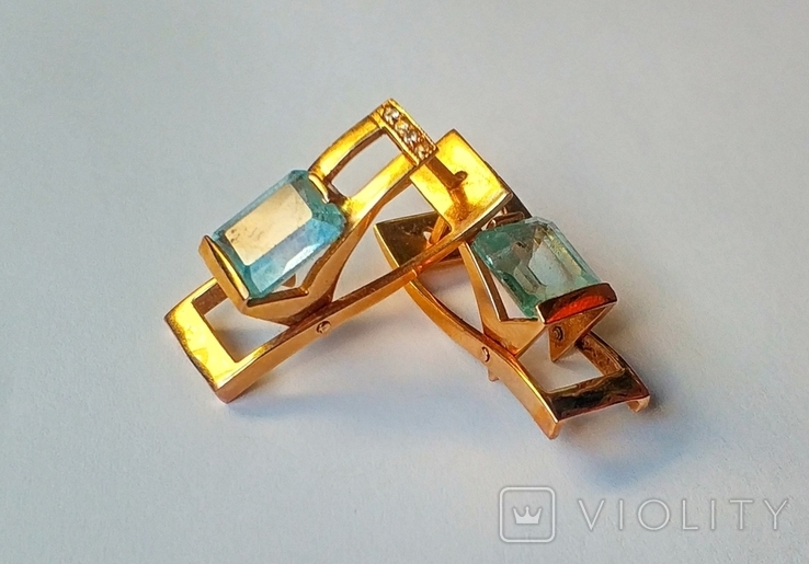 Золотой набор с натуральными топазами. Ручная работа., фото №8