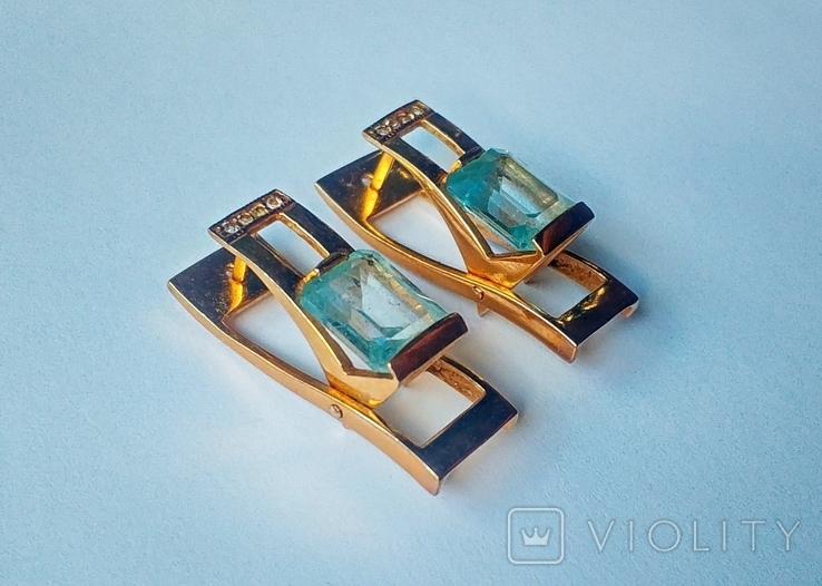 Золотой набор с натуральными топазами. Ручная работа., фото №9