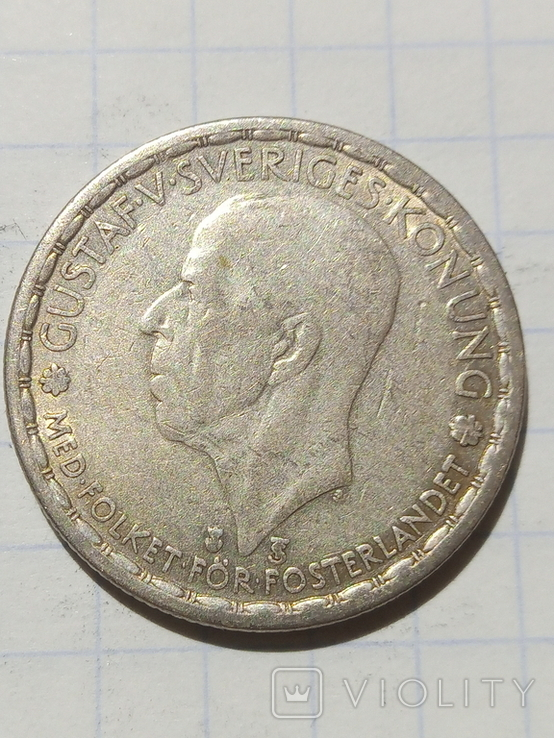 1 крона 1947 Швеція срібло, фото №4