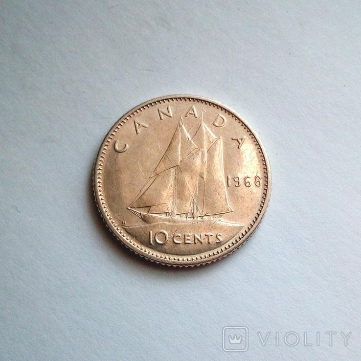 Канада 10 центов 1968 г., фото №3