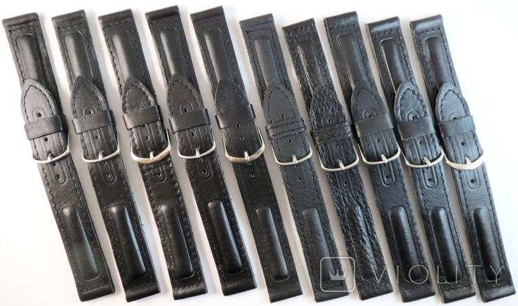 Новые Ремешки на 18 мм. Кожа. 10 штук. Черный цвет, фото №2
