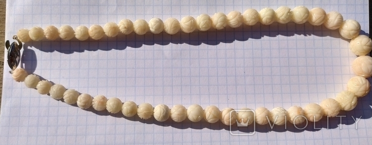 Бусы натуральный коралл, резные шары., фото №4
