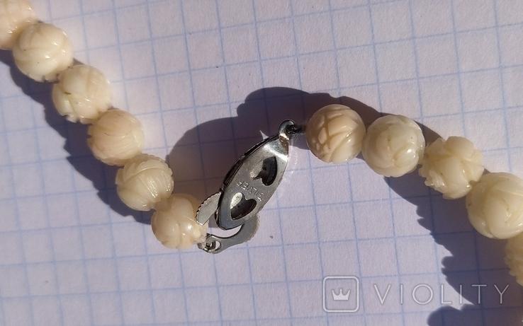 Бусы натуральный коралл, резные шары., фото №9