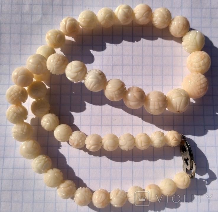 Бусы натуральный коралл, резные шары., фото №10