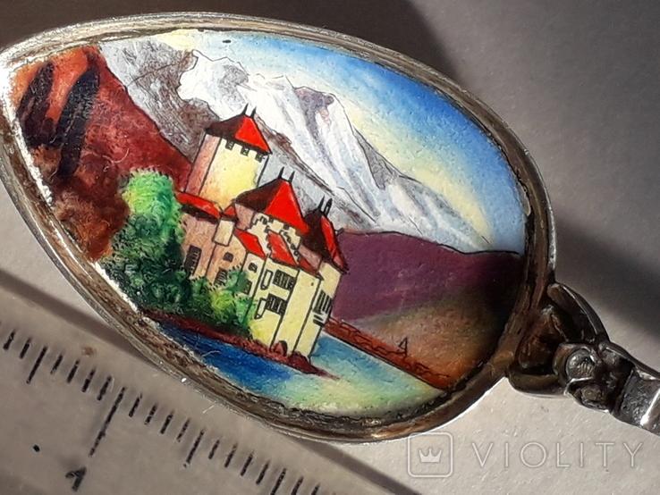 Сувенирная ложка из швейцарского Монтрё, серебро, полихромные эмали, фото №4