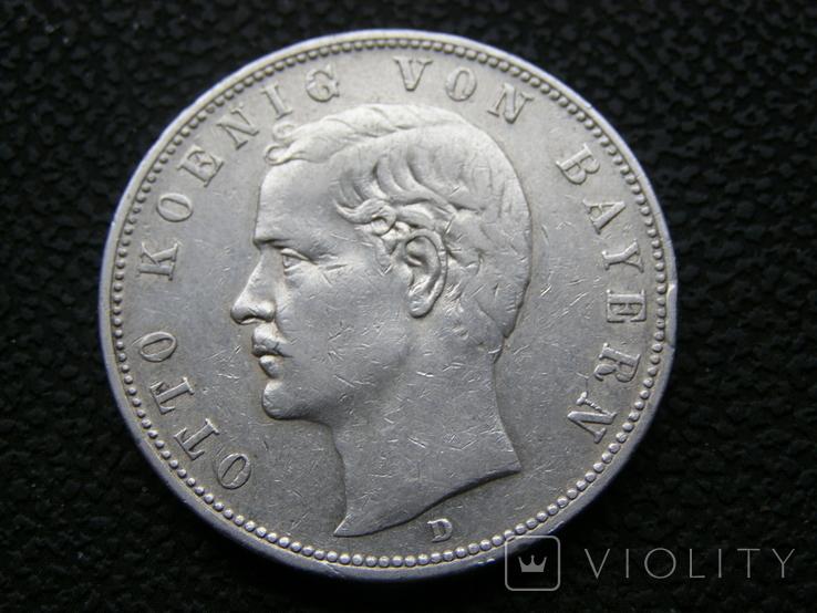 5 марок 1907 D Бавария, фото №2