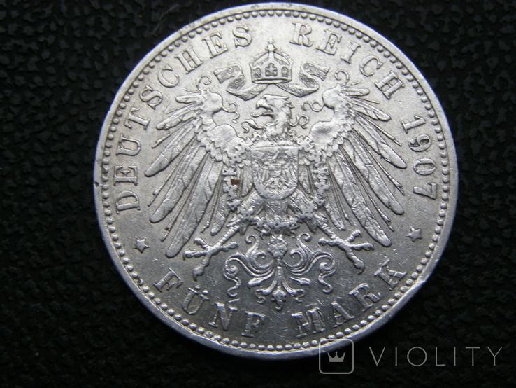 5 марок 1907 D Бавария, фото №4