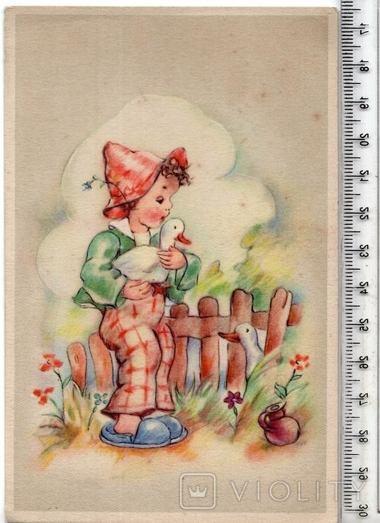 Старинная открытка. После 1945 годa. Дети.(3), фото №2