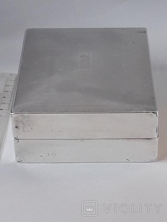 Коробка для сигарет, серебро, Великобритания, вес брутто 485 грамм, фото №5