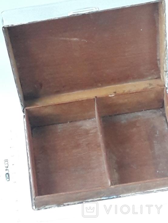 Коробка для сигарет, серебро, Великобритания, вес брутто 485 грамм, фото №10