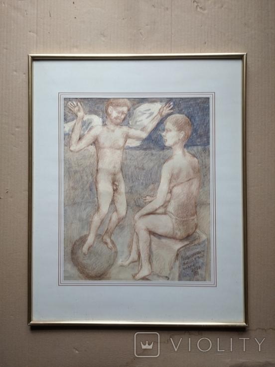 Ангел на шаре б./паст. 38х30 см., 2000г. В.Павлов. копия., фото №2
