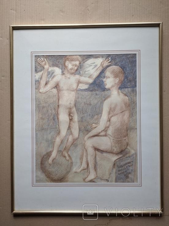 Ангел на шаре б./паст. 38х30 см., 2000г. В.Павлов. копия., фото №3