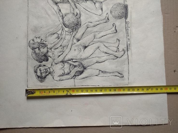 """""""Всем по мячику"""" б.тушь,38х41(21х26),2000г.В.Павлов, фото №6"""