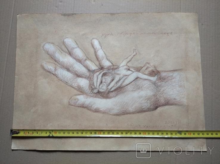"""Рука творца"" б.кар. 32х43 см.2020г. В. Павлов, фото №7"