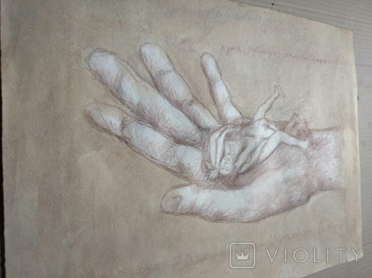 """Рука творца"" б.кар. 32х43 см.2020г. В. Павлов, фото №8"