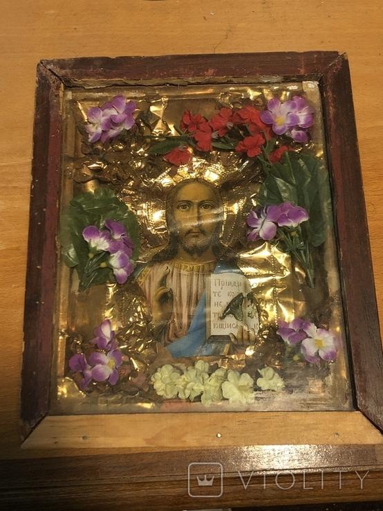 Икона Иисуса Христа в киоте. 26х22 см., фото №2