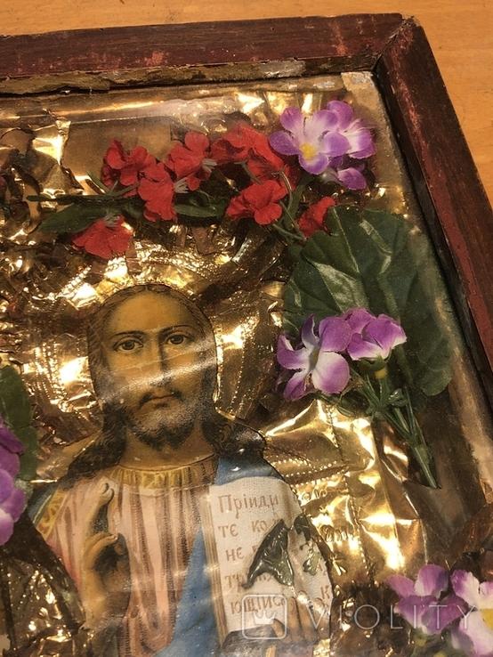 Икона Иисуса Христа в киоте. 26х22 см., фото №3