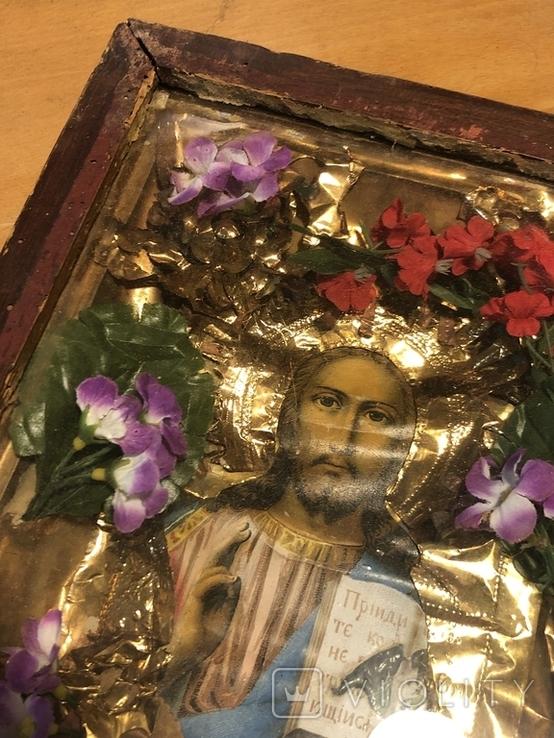 Икона Иисуса Христа в киоте. 26х22 см., фото №4