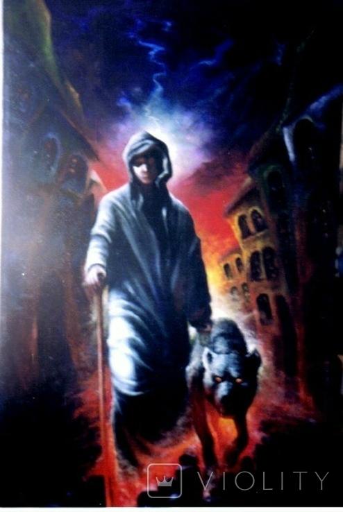 ,, Странник ,, сюрреализм масло 74х120 холст на подрамнике в раме, фото №2